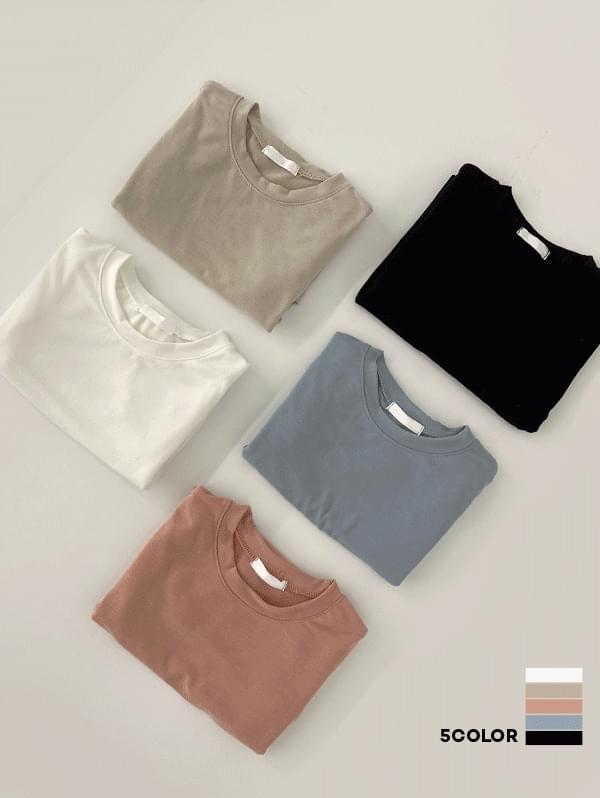 Glutinous Rice Cake Soft Basic Round Long Sleeve T-shirt - 5color