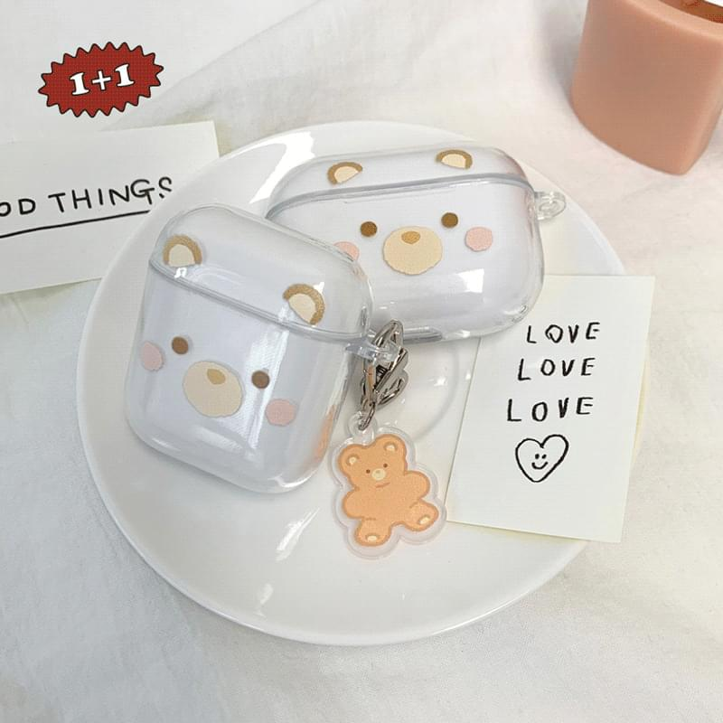 Eyes Nose Mouth Teddy Bear Transparent AirPods Case