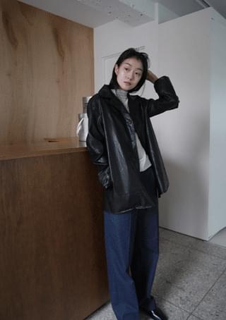 vintage over leather jacket