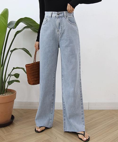 Narrow Back Band Nan Spandex Long Wide Jeans