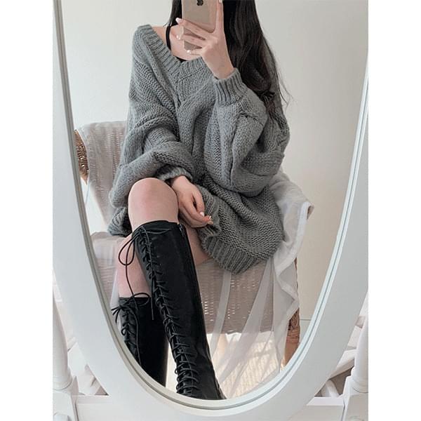 Fleur V-Neck Twisted Knitwear Mini Dress
