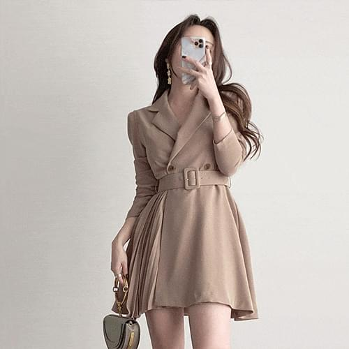Gorgeous color matching chiffon pleated belt double collar jacket Dress 4color