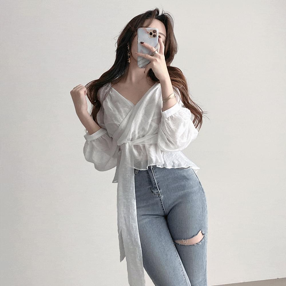Slim fit chiffon wrap blouse 3color