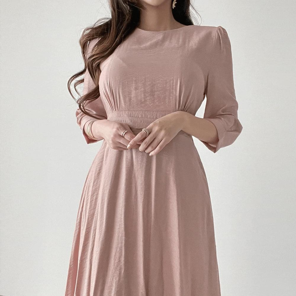 7 part puff pintuck long Dress 2color