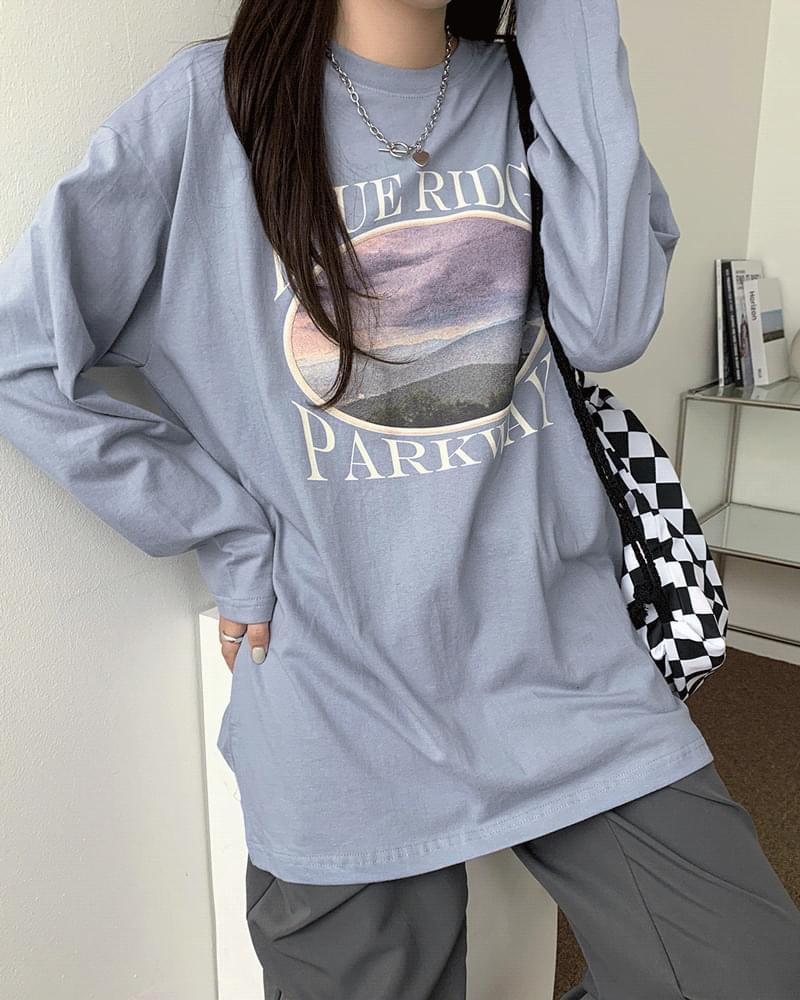 ブルーパークルーズフィットプリントボックスTシャツ