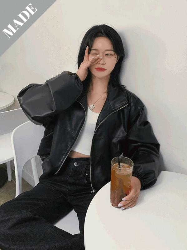 rose cropped leather jacket