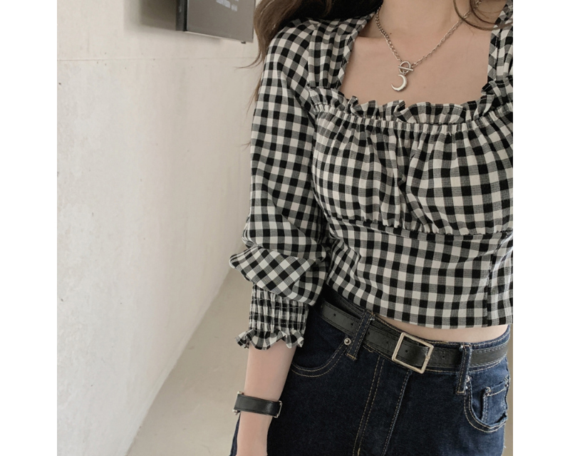 bl5473 Isabel square neck cropped blouse