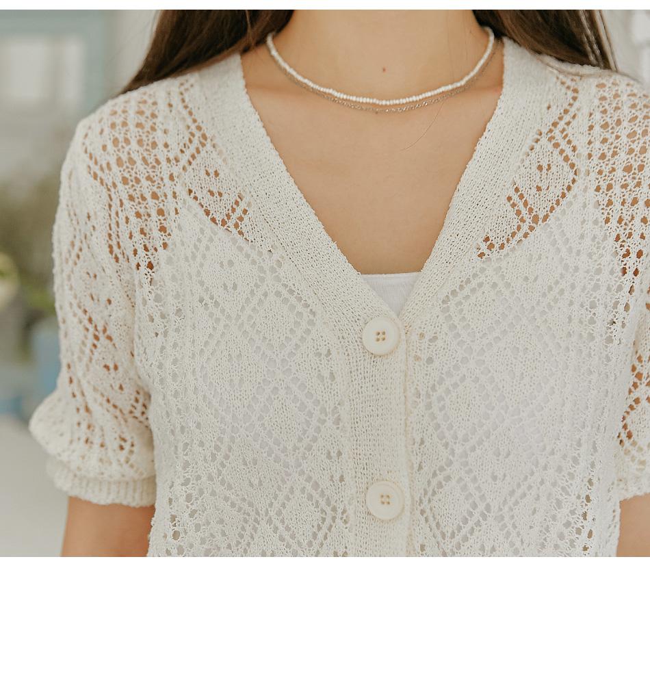 鏤空花紋V領短袖針織外套
