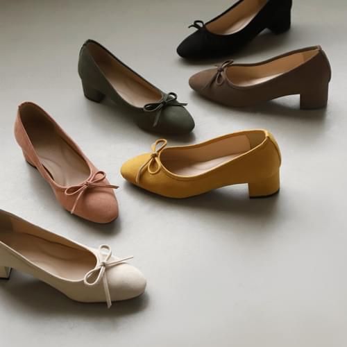 Retiv suede ribbon pumps heels
