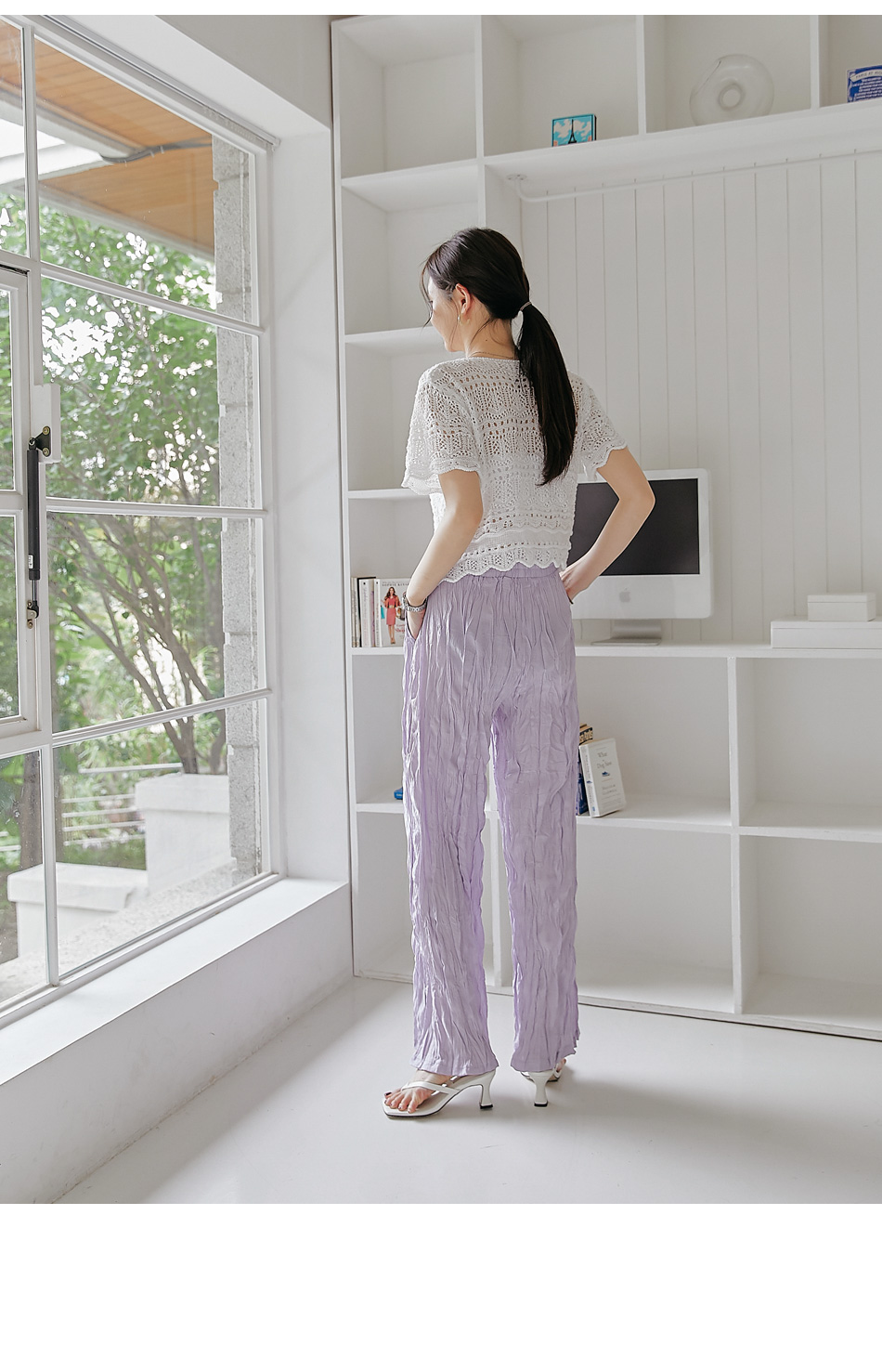 Wrinkled Straight Pants