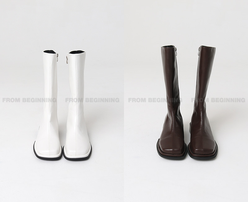 Hard Square Leather Middle Boots