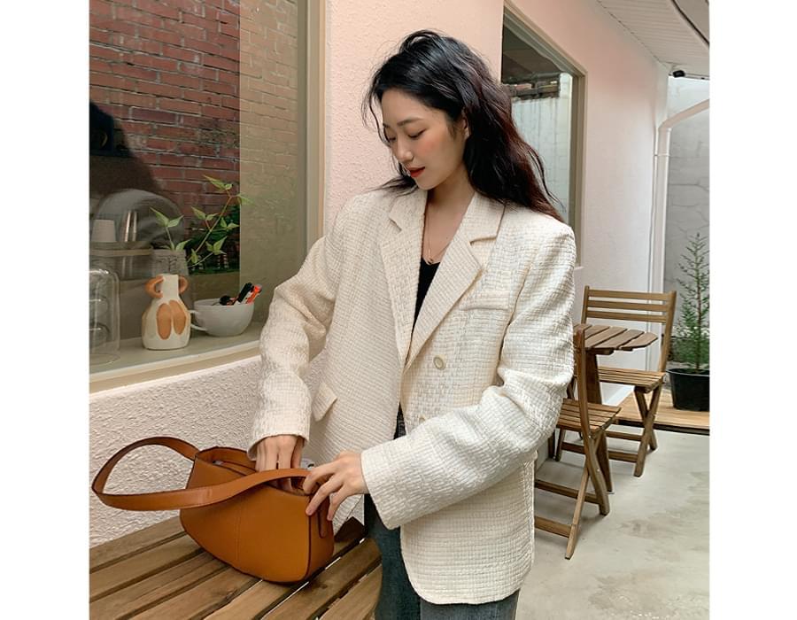 embossed tweed tailored jacket