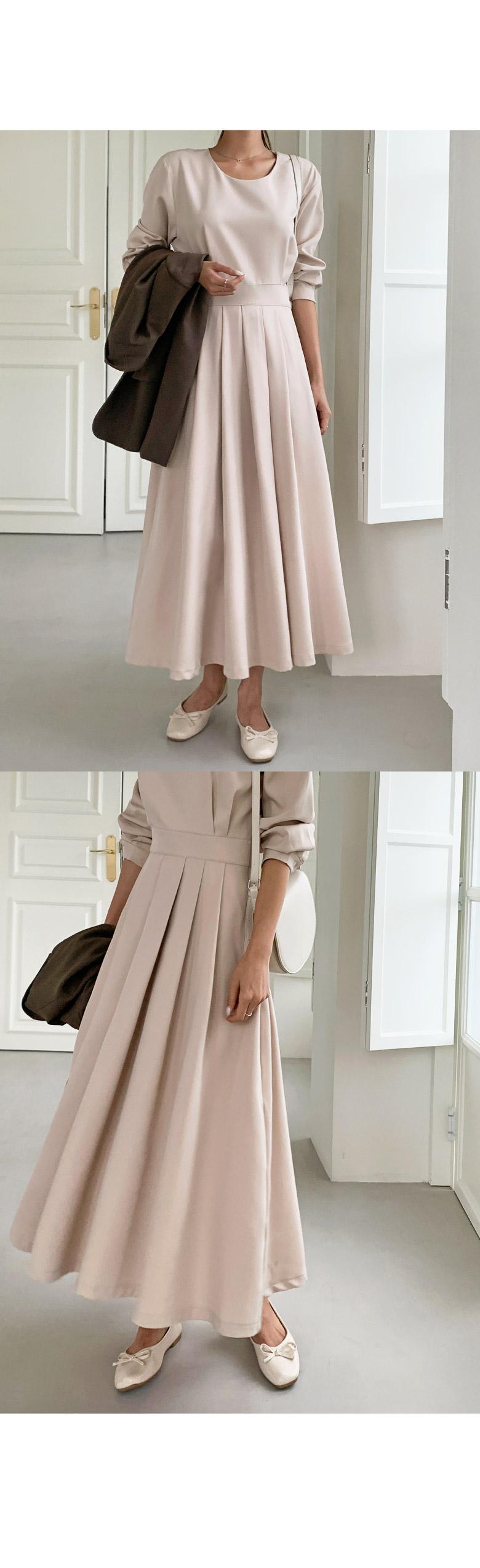 Kate Pintuck Pleats Long Dress