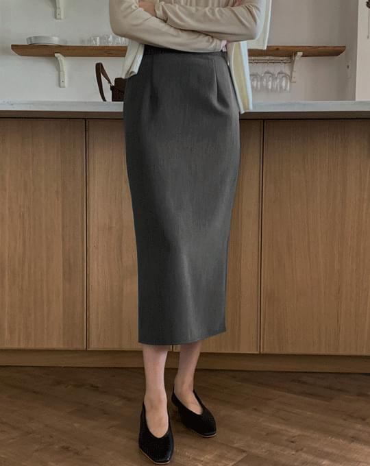 Hebron Back Banding H-Line Long Skirt - 4 color
