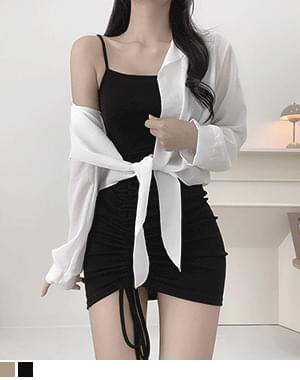 Kyoni Sleeveless Shirring Dress