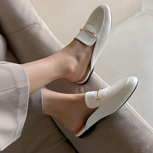 Alina gold-embellished loafers and bloopers