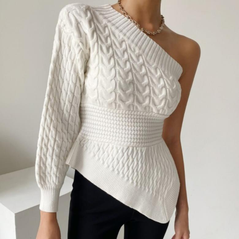 One Off Shoulder Unbalanced Knitwear