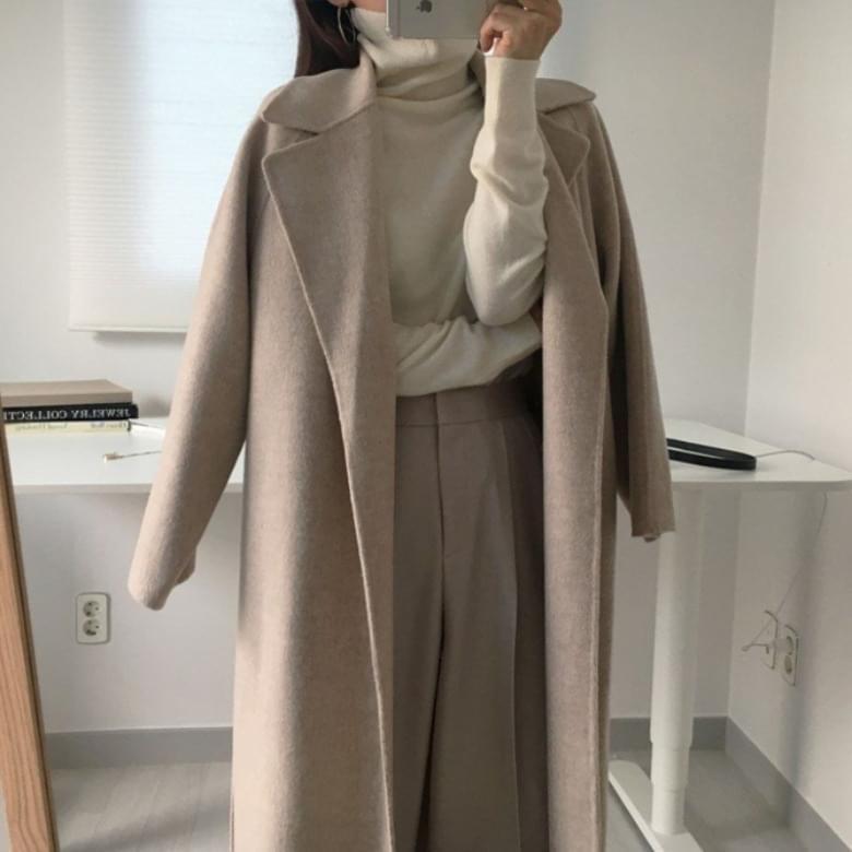 soft robe belted long coat