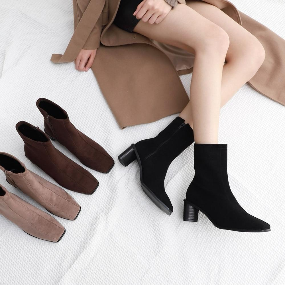 Suede Double Stitch Line Triangle Block Heel Zipper Ankle Boots 1898