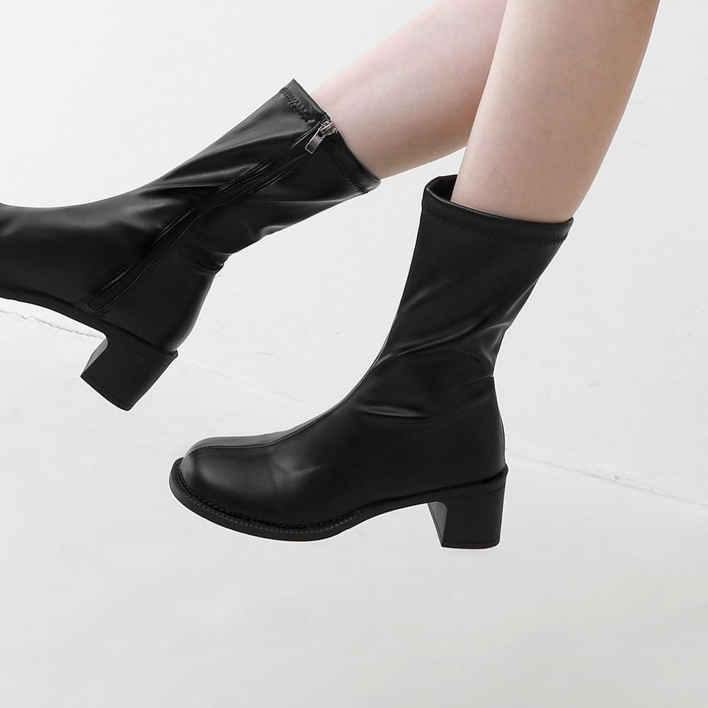 Crude square nose middle side zipper middle heel boots 11094 ♡ 1st sold out♡
