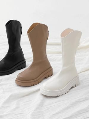 Round nose oversole whole heel middle boots 11078 ♡1st sold out♡