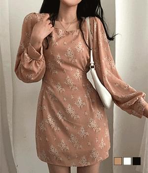 mood flower square neck mini Dress