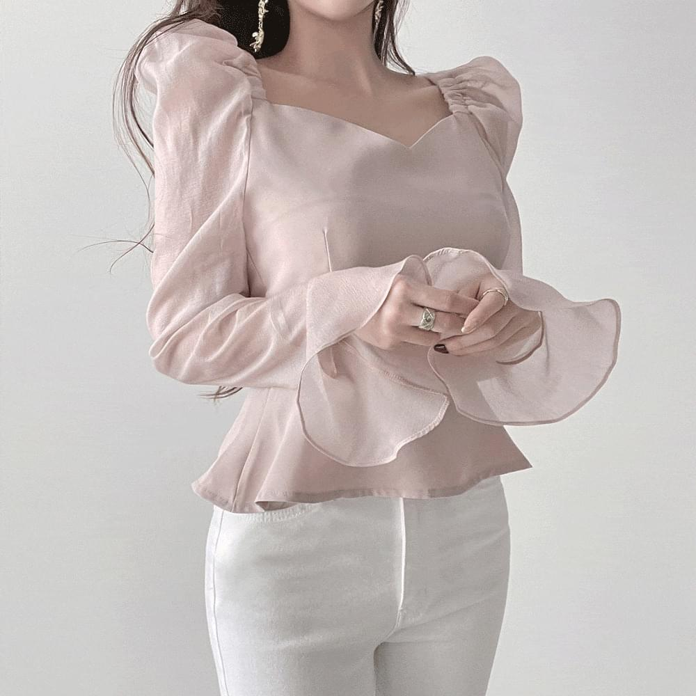 Gorgeous heart neck see-through chiffon ruffle puff blouse 2color