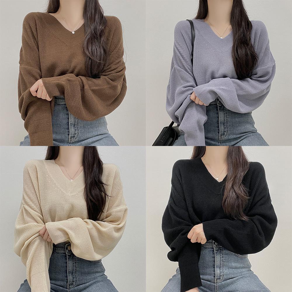 Nora, Yeori Fit Crop V-Neck Knitwear