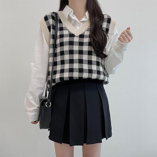 Go, Check V-Neck Knitwear Best Vest 开襟衫