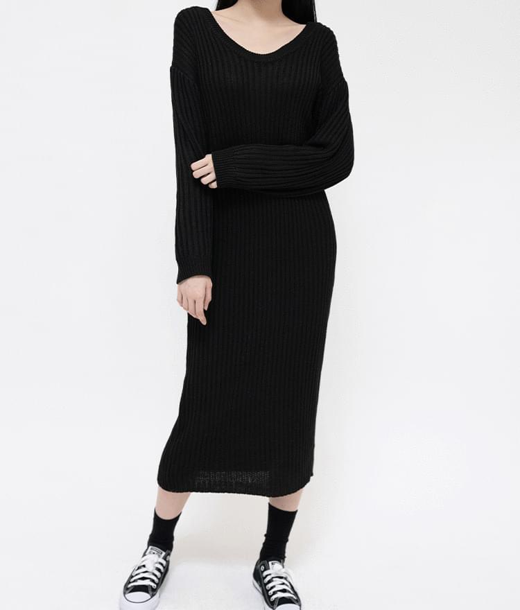 Ribbed Knit Long Dress