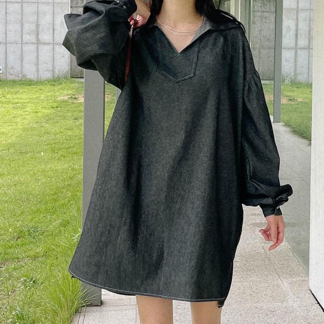 Sophie unbalanced denim Dress