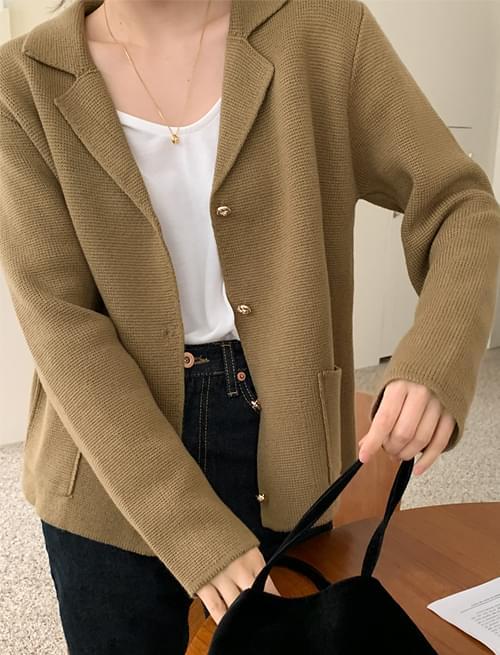Gold Button Single Knitwear Jacket