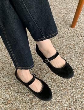 Marshmallow Velvet Mary Jane Shoes
