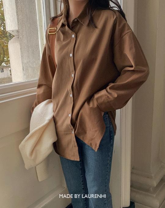 Minute Loose-fit fitting Fleece-lined cotton shirt