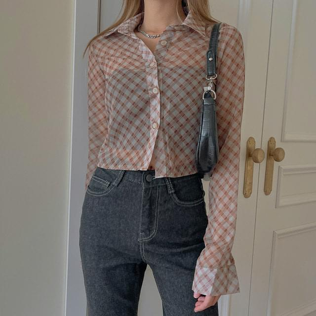 Simon See-through Check Crop Shirt (Delayed delivery)
