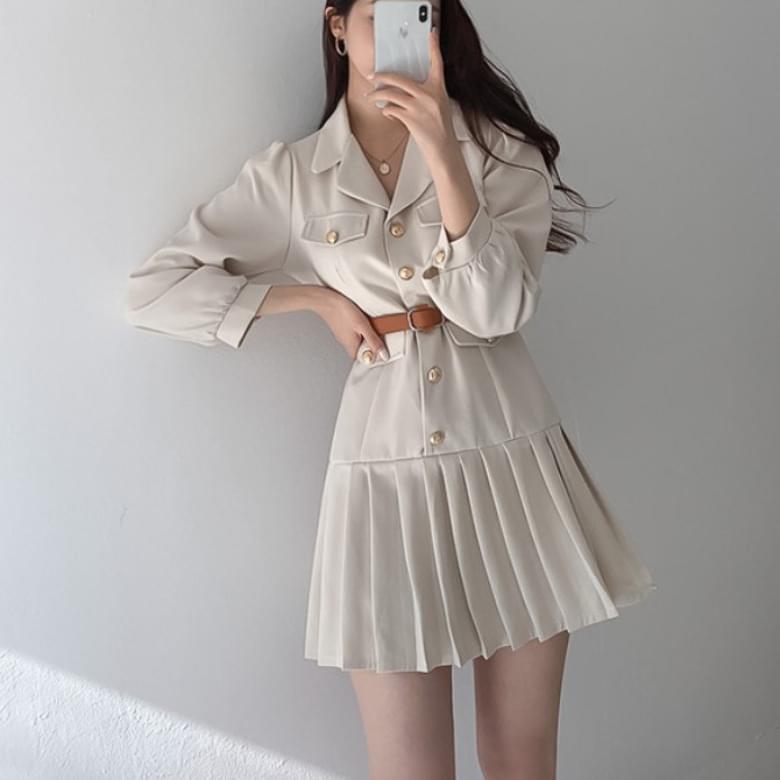 blian soft collar belt Dress
