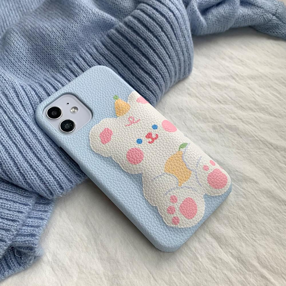 Cushioning Blue Bear Leather Hard iPhone Case