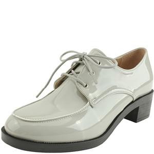 enamel lace-up whole-heel loafers gray
