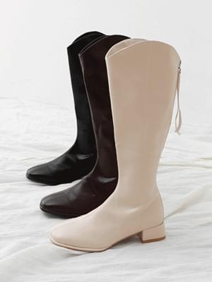 Square nose Western line back zipper low heel long boots 11065 ♡ 6th sold out♡