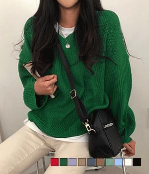 Grass Hachi V-Neck Loose-fit Knitwear