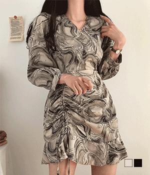 Marble shirring chiffon mini Dress
