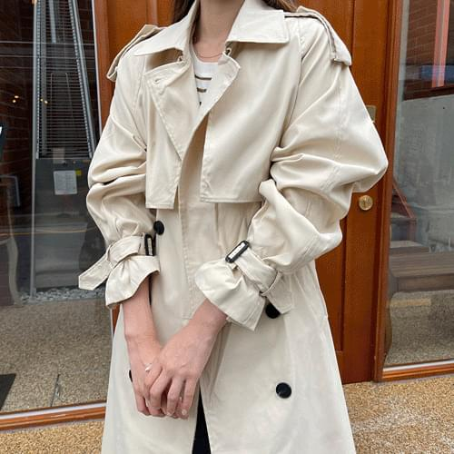 Strap Point Loose-fit Fit Double Trench Coat O#YW399