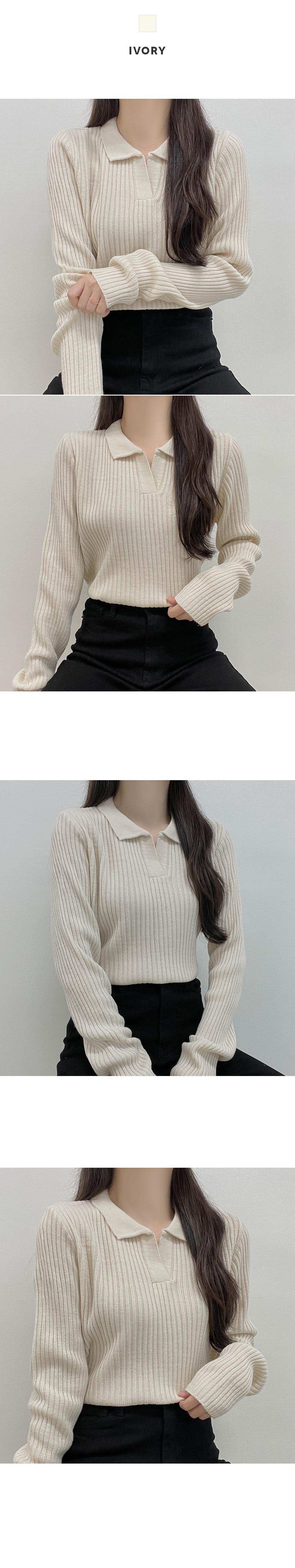 Baguette, Basic Ribbed Norton Collar Knitwear