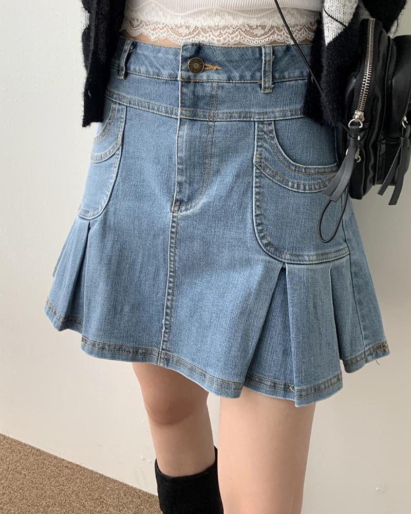 Nave Teen Light Blue Denim Pleated Skirt