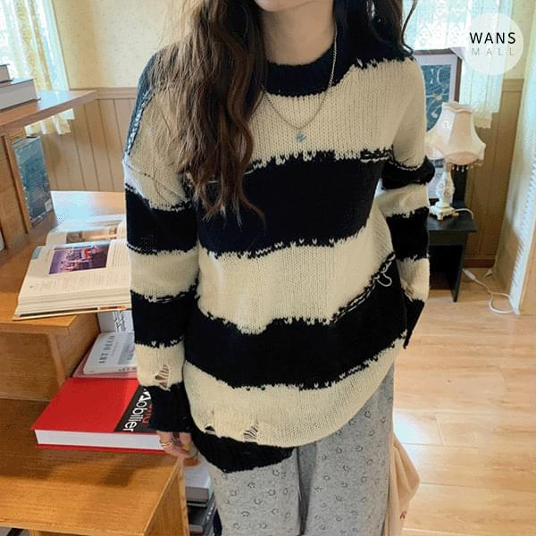 kn6061 Example Striped Frayed Knitwear