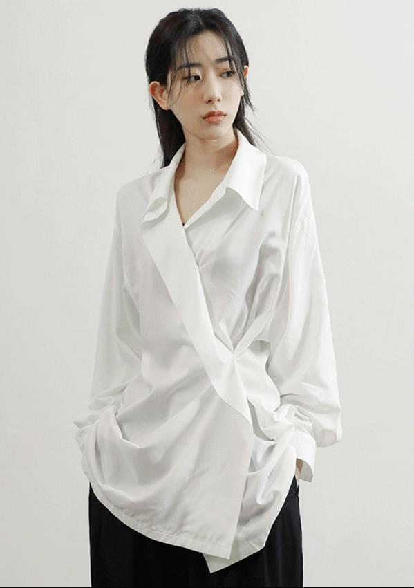 silk unbalance wrap shirt