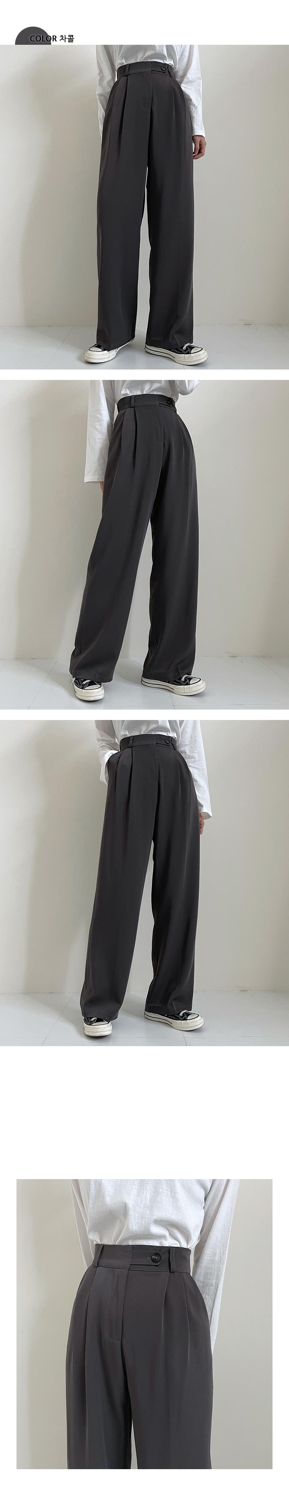 Tsarle button-to-pin tuck wide slacks