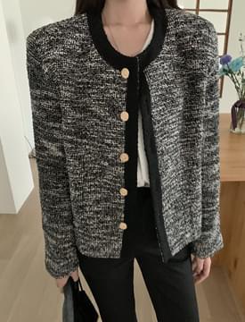 gold button round tweed jacket