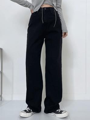 Hidden Black Denim Wide Pants