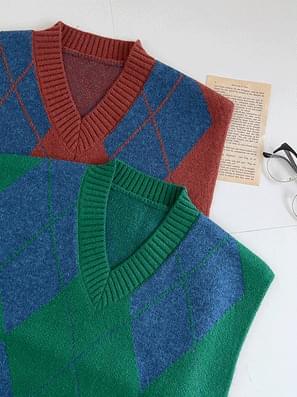 Casual Argyle Knitwear Vest